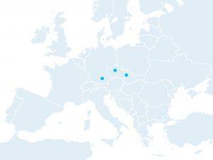 Mapa Evropy se třemi místy.