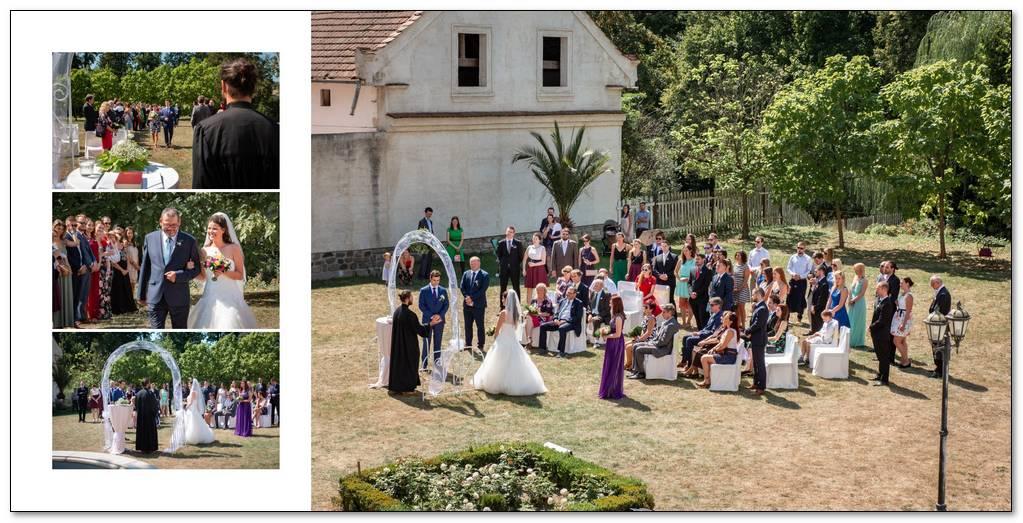 Venkovní cirkevní svatba před zámkem Radič.