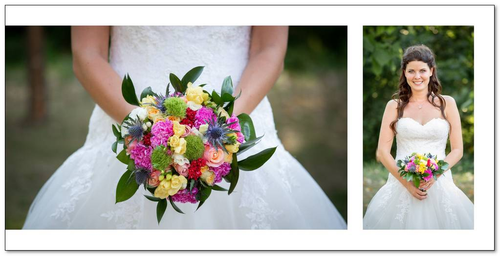 Nevěsta se svatební kyticí.