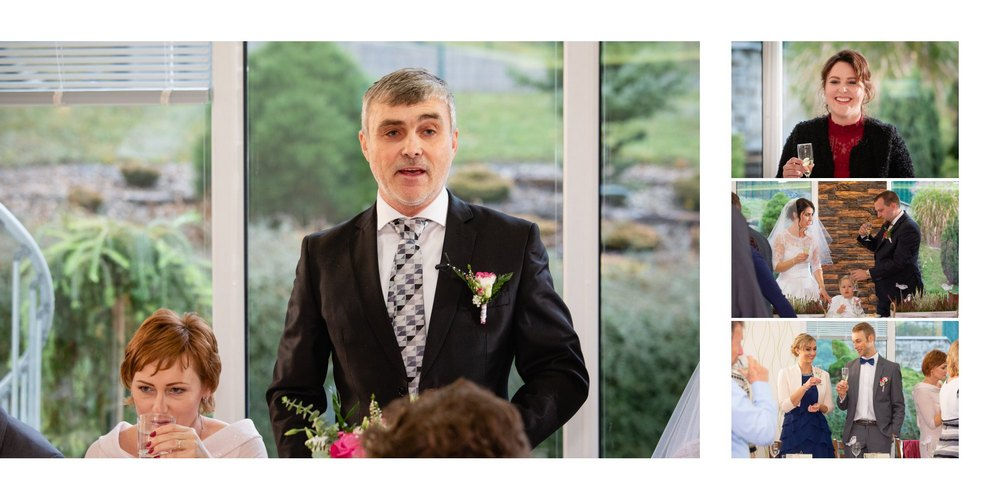 Otec nevěsty má projev na svatbě.