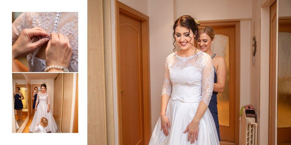 Nevěsta si obléká svatební šaty.