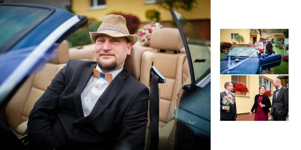 Ženich v autě v Trnavě.