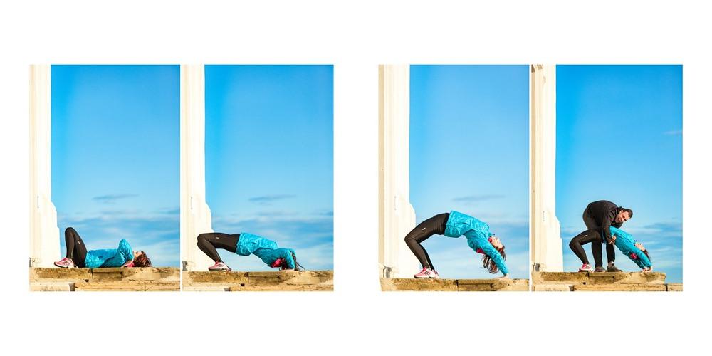 Cvičení s modrou oblohou.