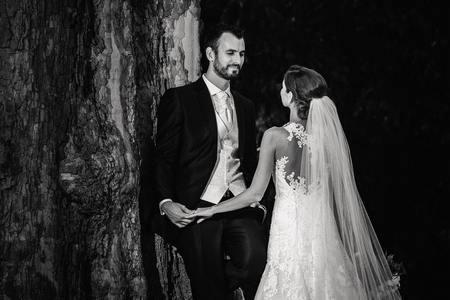 Novomanželé u stromu v za