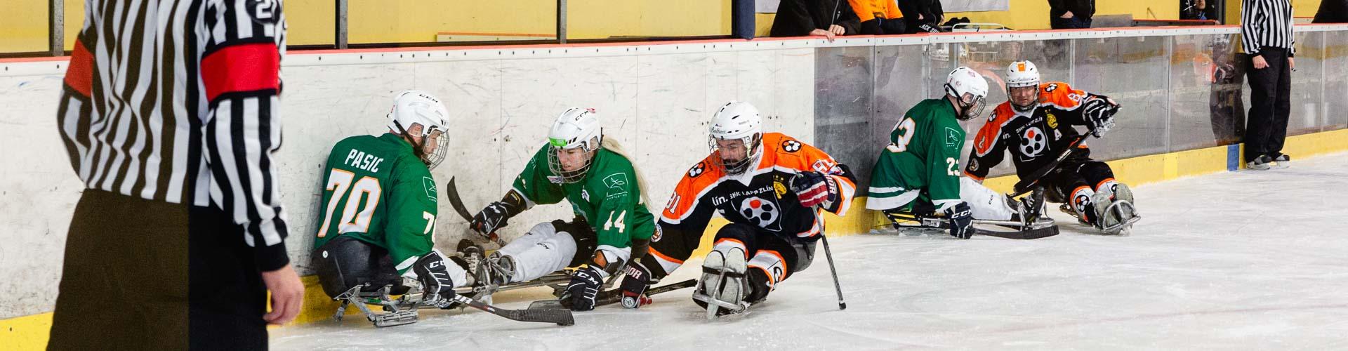 Sledge hokejisté na ledě.
