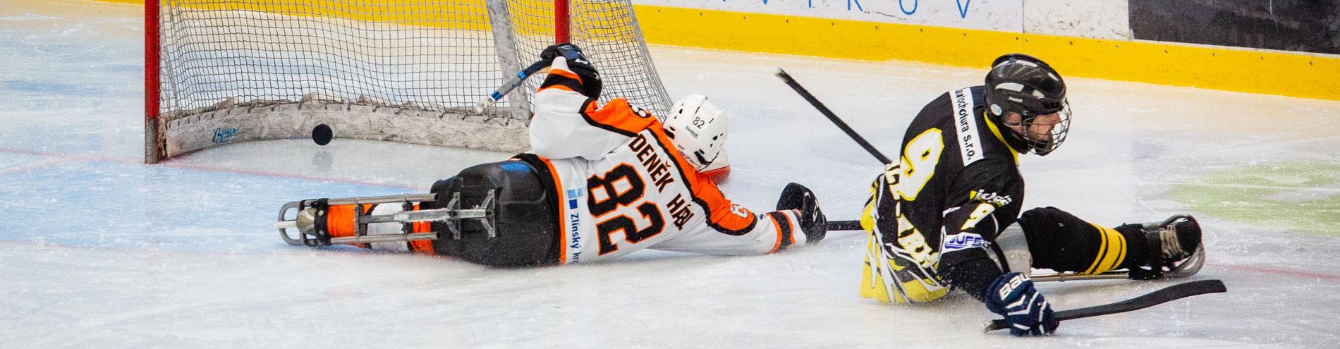 Sledge hokejiste se válí na ledě.
