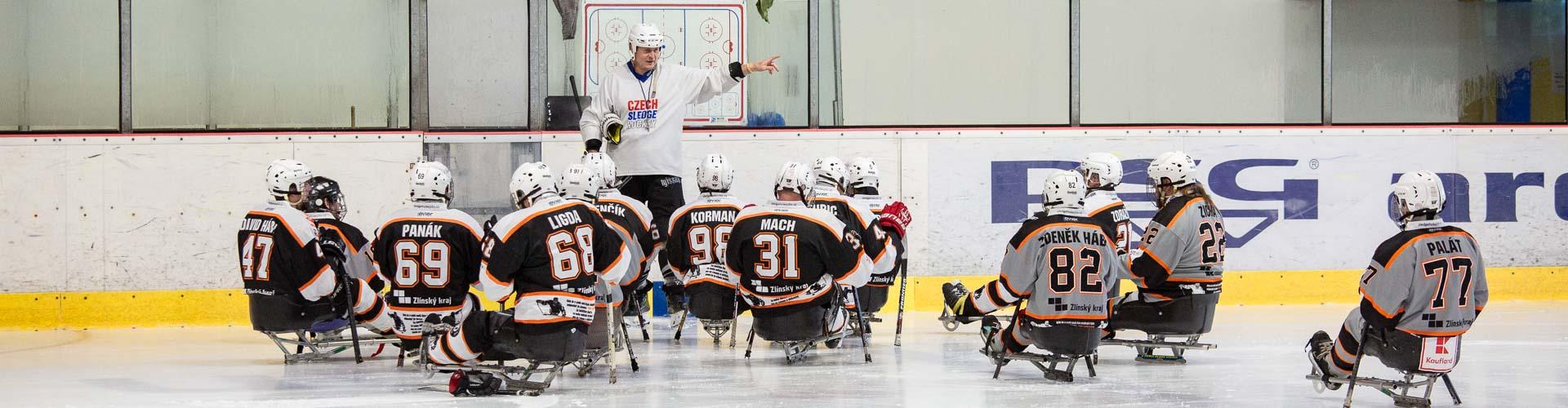 Tréning sledge hokejistů Zlín.